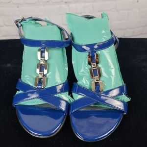 Mootsie Tootsie Blue Faux Patent Leather S…